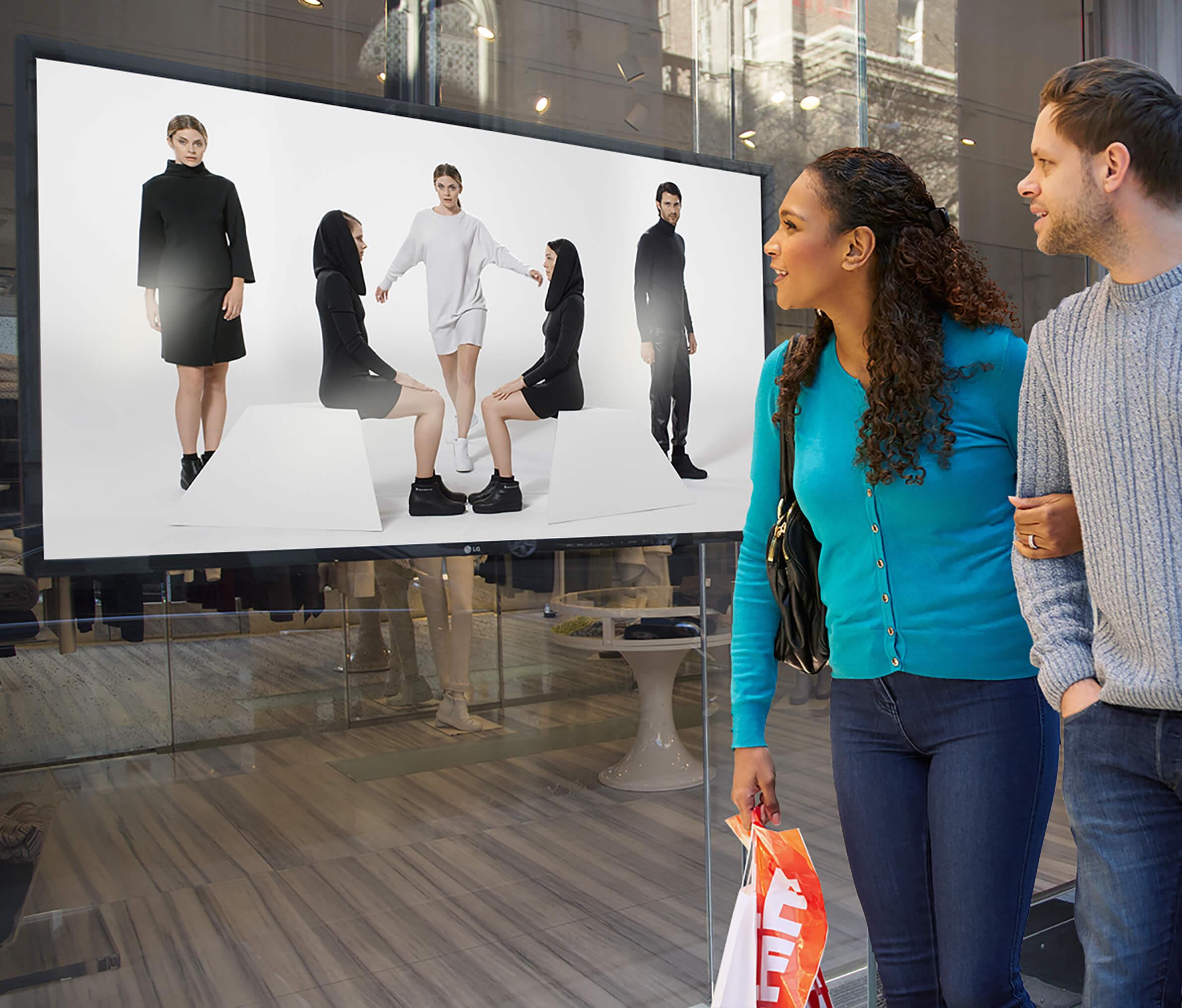 digital signage retail, digital signage window, window shopping