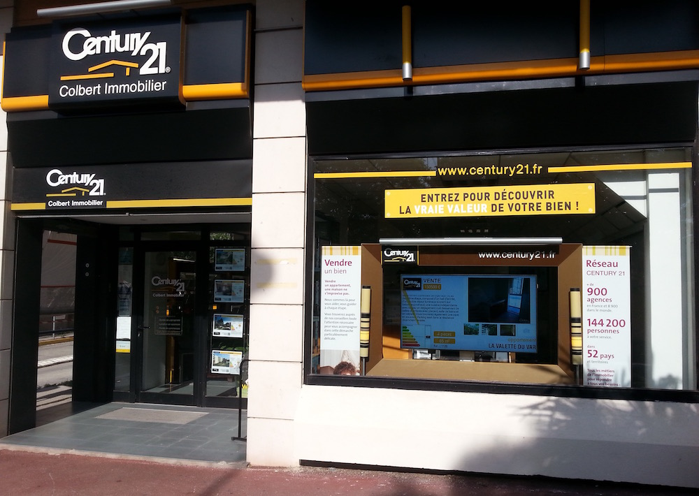 century 21 office, real estate digital signage