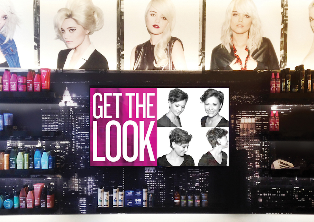get the look, salon digital signage