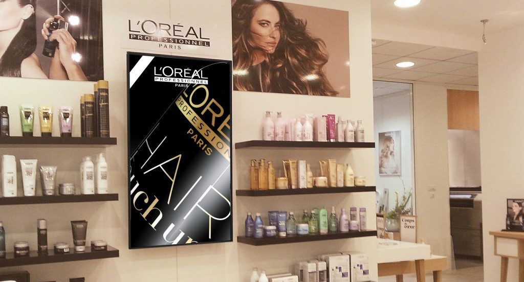 loreal salon, salon digital signage