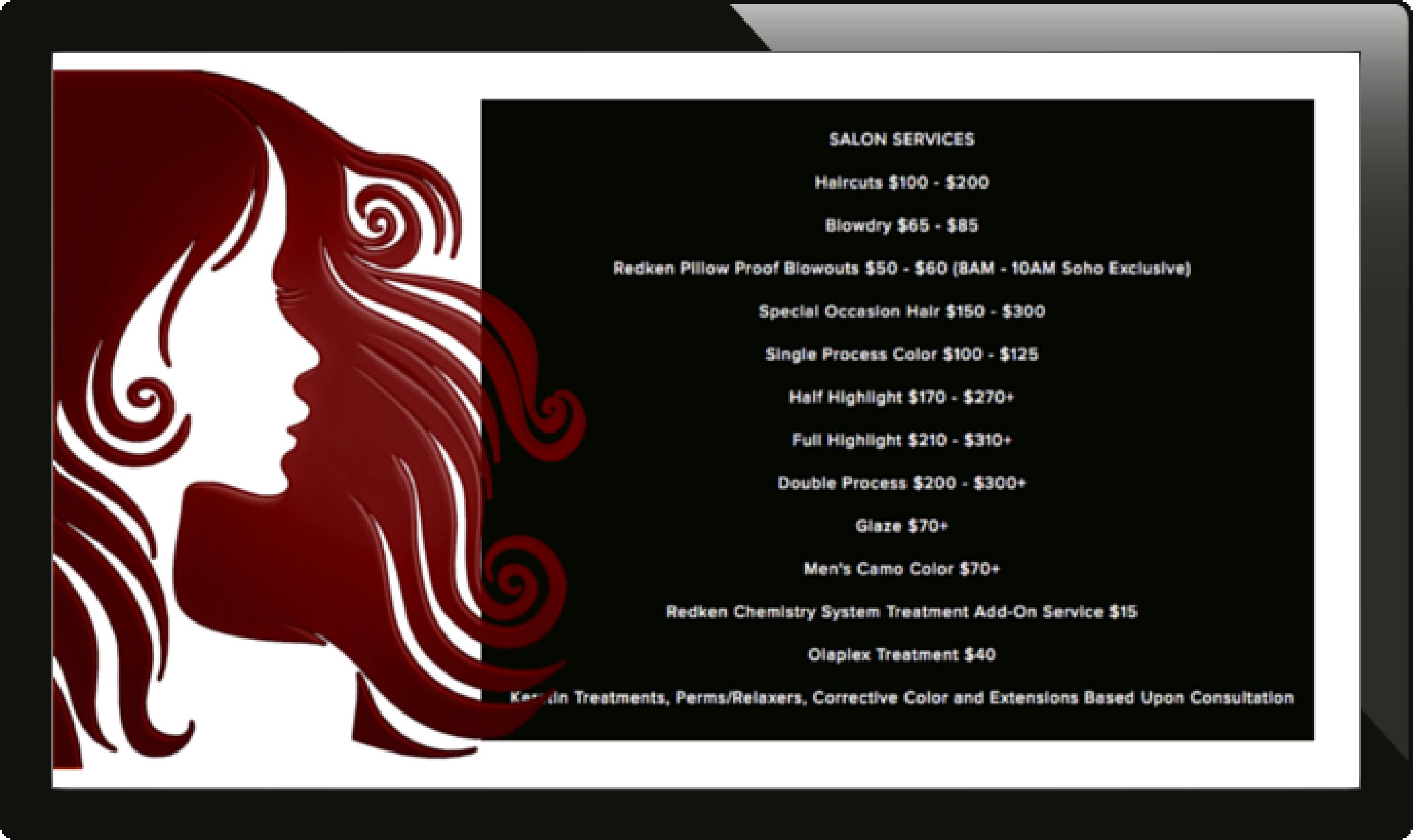 salon services list, salon services menu, salon digital signage