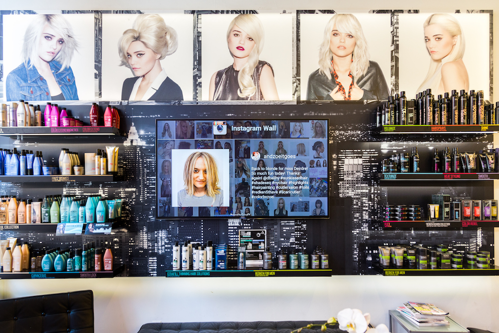 salon digital signage, digital signage instagram, retail digital signage