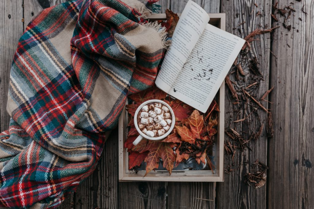 Hot chocolate with a book